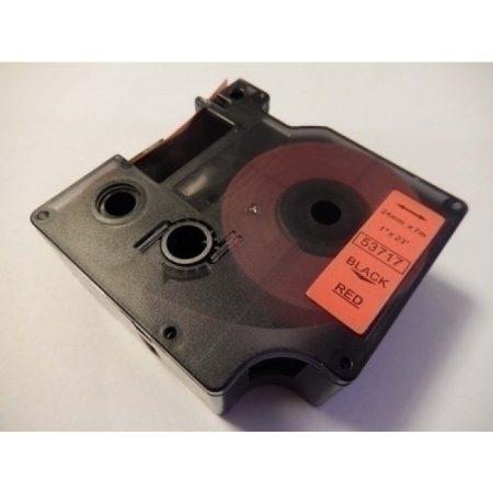Dymo D1 53717 utángyártott piros alapon fekete nyomtatás 24mm * 7m feliratozógép szalag kazetta