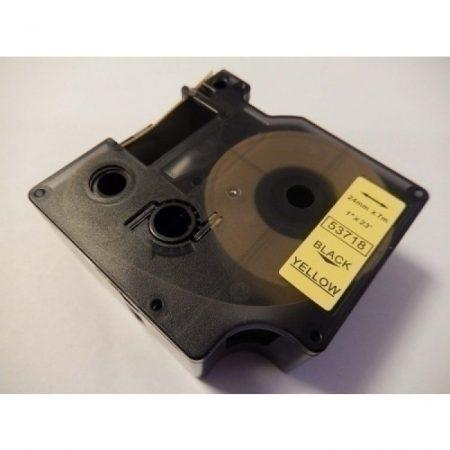 Dymo D1 53718 24mm * 7m sárga alapon fekete utángyártott feliratozószalag kazetta