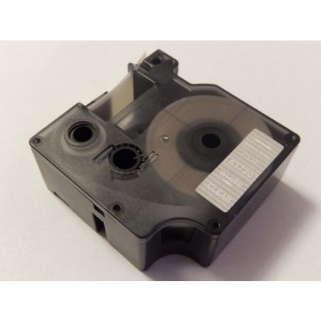 Dymo D1 53720 átlátszó alapon fehér 24mm * 7m utángyártott feliratozószalag kazetta