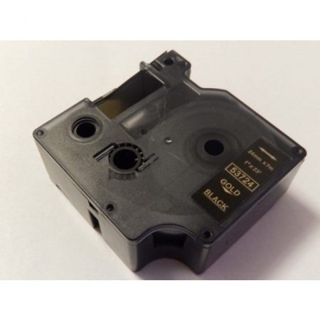 Dymo D1 53724 24mm * 7m fekete alapon arany nyomtatás utángyártott feliratozószalag kazetta