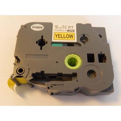Brother TZe-FX641 18mm * 8m sárga alapon fekete rugalmas utángyártott feliratozószalag-kazetta