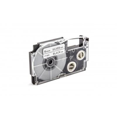 Casio XR-6SR1 utángyártott feliratozószalag kazetta ezüst alapon fekete nyomtatás 6 mm * 8m