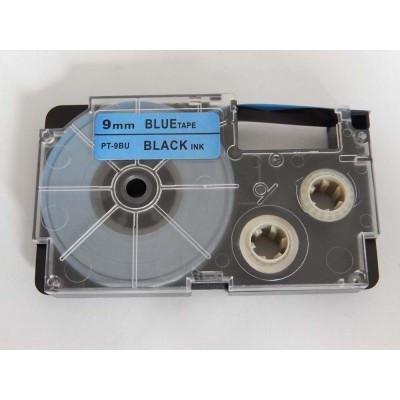 Casio XR-9BU1  utángyártott feliratozószalag kazetta kék alapon fekete nyomtatás 9 mm * 8m