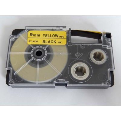 Casio XR-9YW1 utángyártott feliratozószalag kazetta sárga alapon fekete nyomtatás 9 mm * 8m