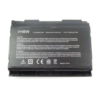 Clevo 6-87-X510S-4D72, 6-87-X510S-4D74 utángyártott laptop akkumulátor akku - 5200mAh (14.8V) fekete