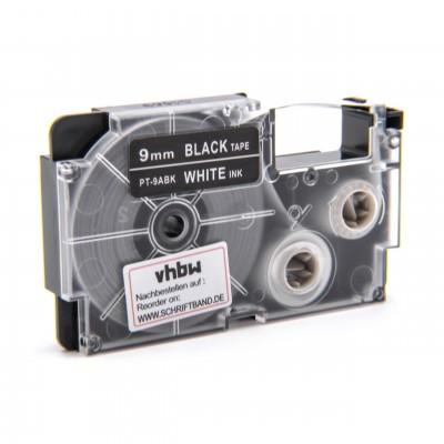 Casio XR-9ABK utángyártott feliratozószalag kazetta fekete alapon fehér nyomtatás 9 mm * 8m