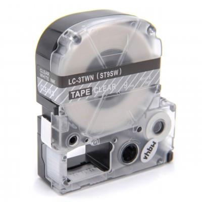 Epson LC-3TWN  utángyártott feliratozószalag kazetta 9 mm * 8m átlátszó alapon fehér nyomtatás