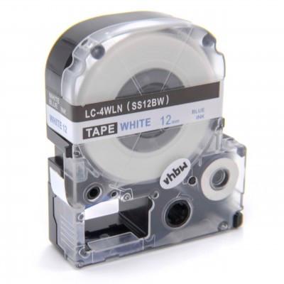 Epson LC-4WLN utángyártott feliratozószalag kazetta 12 mm * 8m fehér alapon Kék nyomtatás