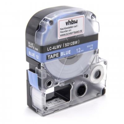 Epson LC-4LWV  utángyártott feliratozószalag kazetta 12 mm * 8m kék alapon fehér nyomtatás
