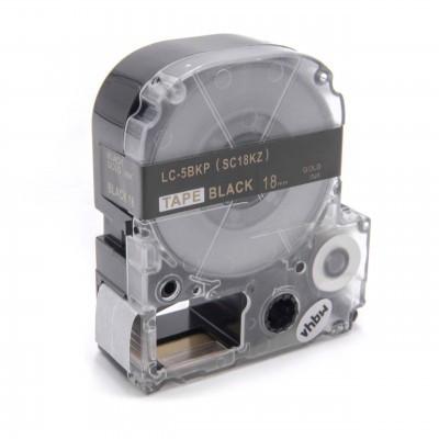 Epson LC-5BKP utángyártott feliratozószalag kazetta 18 mm * 8m fekete alapon arany nyomtatás