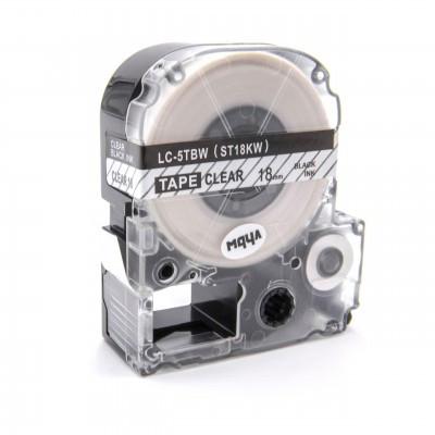 Epson LC-5TBW utángyártott feliratozószalag kazetta 18 mm * 8m átlátszó alapon fekete nyomtatás