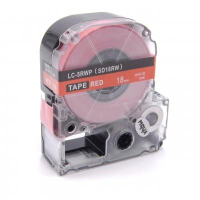 Epson LC-5RWP  utángyártott feliratozószalag kazetta 18 mm * 8m Piros alapon fehér nyomtatás