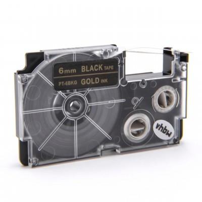 Casio XR-6ABK utángyártott feliratozószalag kazetta fekete alapon fehér nyomtatás 6 mm * 8m