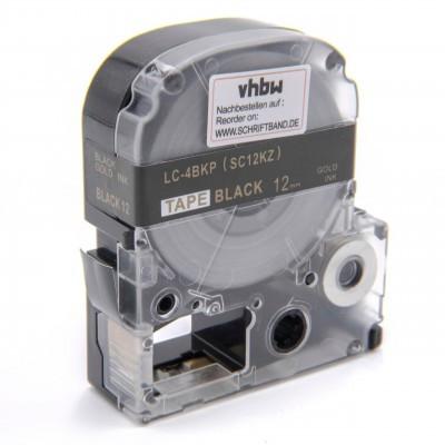 Epson LC-4BKP utángyártott feliratozószalag kazetta 12 mm * 8m fekete alapon arany nyomtatás