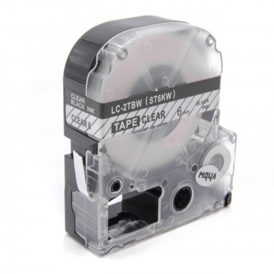 Epson LC-2TBW utángyártott feliratozószalag kazetta 6 mm * 8m átlátszó alapon fekete nyomtatás