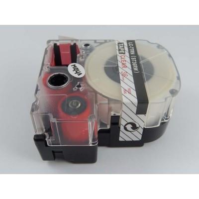 Epson LC-7TRN  utángyártott feliratozószalag kazetta 36 mm * 8m átlátszó alapon Piros nyomtatás