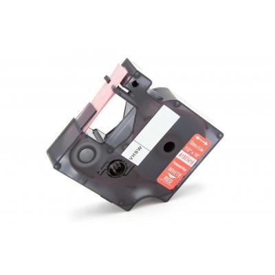 Dymo Rhino 12mm piros alapon fehér vinyl ipari szalag UV-álló, hőálló, vízálló kazetta