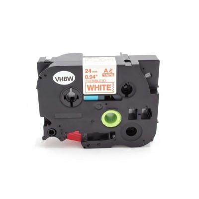 Brother TZE-FX252 24mm * 8m fehér alapon piros rugalmas utángyártott feliratozószalag-kazetta