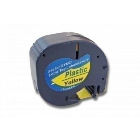 Dymo LT 91202 LetraTag sárga alapon fekete poliészter 12mm*4m fpoliészter feliratozószalag