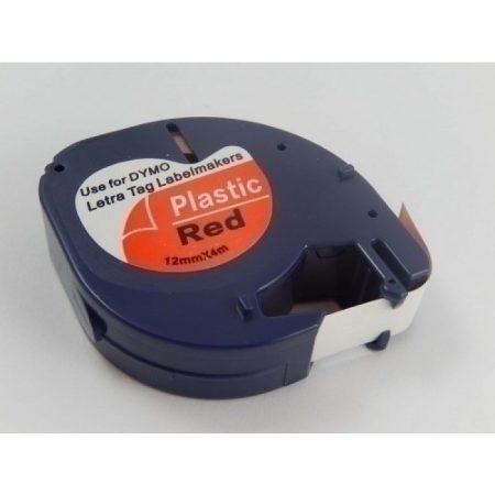 Dymo LT 91203 12mm * 7m piros alapon fekete LetraTag utángyártott poliészter feliratozószalag kazetta