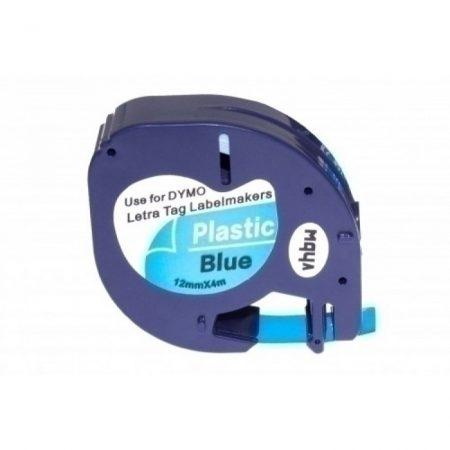 Dymo LetraTag LT 91205 kék alapon fekete utángyártott 12mm * 4m poliészter feliratozószalag kazetta