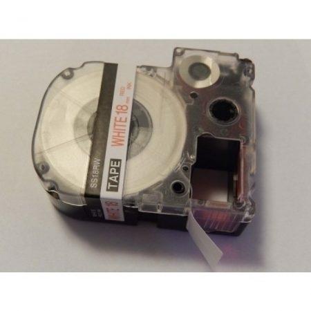 Epson LC-5WRN utángyártott 18mm * fehér alapon piros szalagkazetta