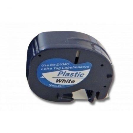 Dymo utángyártott LetraTag 12mm 91201 (S0721610) 12mm*4m fekete-fehér poliészter szalag