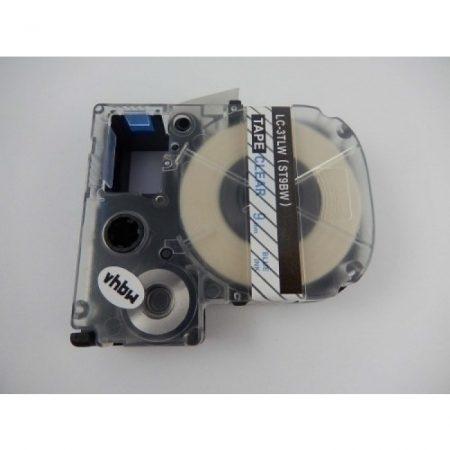 Epson LC-3TLW utángyártott feliratozószalag kazetta 9 mm * 8m átlátszó alapon kék nyomtatás