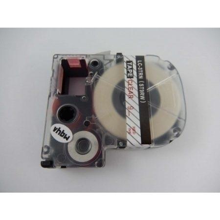 Epson LC-3TRN utángyártott feliratozószalag kazetta 9 mm * 8m átlátszó alapon piros nyomtatás