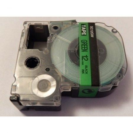 Epson LC-4GBP utángyártott feliratozószalag kazetta 12 mm * 8m zöld alapon fekete nyomtatás
