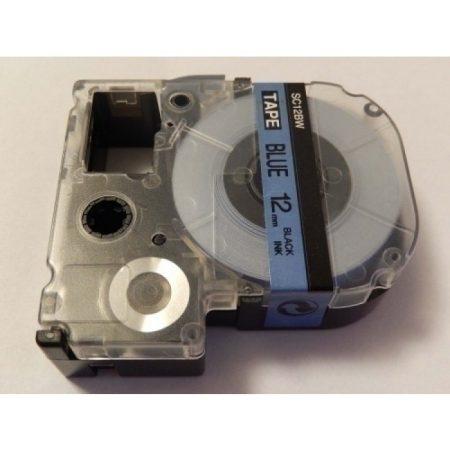 Epson LC-4LBP utángyártott feliratozószalag kazetta 12 mm * 8m kék alapon fekete nyomtatás