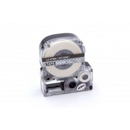Epson LC-4TWN utángyártott feliratozószalag kazetta 12 mm * 8m átlátszó alapon fehér nyomtatás
