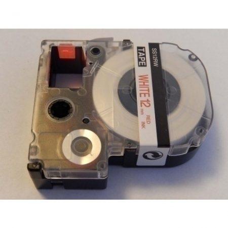 Epson LC-4WRN kompatibilis 12mm*8m fehér alapon piros feliratozószalag kazetta