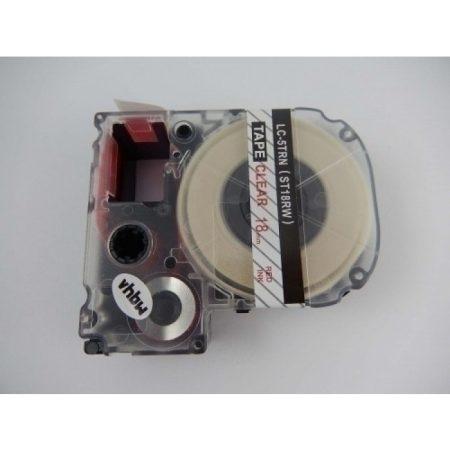 Epson LC-5TRN utángyártott feliratozószalag kazetta 18 mm * 8m átlátszó alapon piros nyomtatás