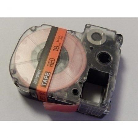 Epson LC-5YRN piros alapon fekete 18mm * 8m utángyártott feliratozógép-szalag kazetta