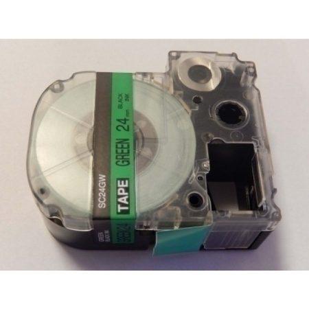 Epson LC-6GBP utángyártott 24mm * 8m feliratozószalag-kazetta zöld alapon fekete szín