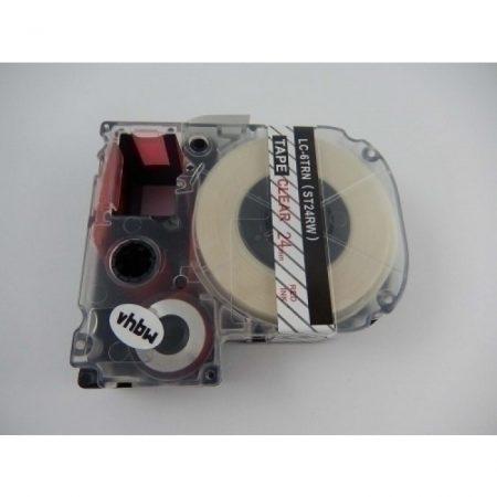 Epson LC-6TRN utángyártott feliratozószalag kazetta 24 mm * 8m átltátszó alapon piros nyomtatás