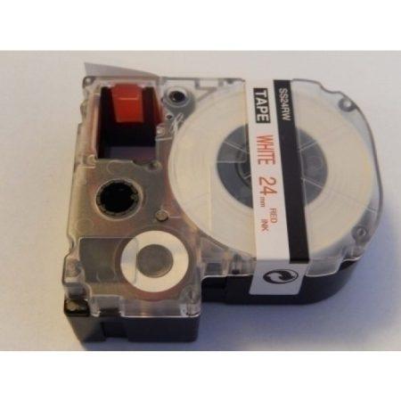 Epson LC-6WRN utángyártott 24mm * 8m fehér alapon piros feliratozógép kazetta