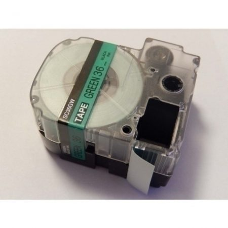 Epson LC-7GBP 36mm * 8m utángyártott zöld alapon fekete nyomtatás feliratozószalag kazetta
