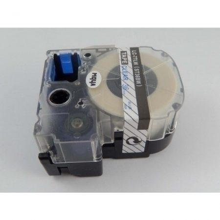 Epson LC-7TLW utángyártott feliratozószalag kazetta 36 mm * 8m átlátszó alapon kék nyomtatás