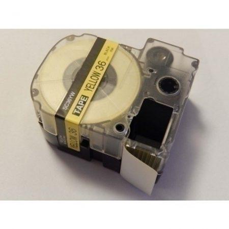 Epson LC-7WBW LK-7WBW kompatibilis utángyártott 36mm * 8m fekete-sárga feliratozószalag kazetta