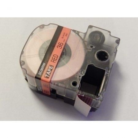 Epson LC-7YRN 36mm * 8m piros alapon fekete utángyártott feliratozószalag