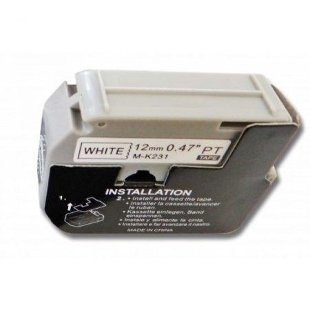 Brother M-K231 utángyártott 12mm fehér alapon fekete nem laminált feliratozószalag kazetta