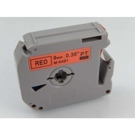 Brother M-K421 9mm * 8m piros alapon fekete utángyártott feliratozószalag kazetta