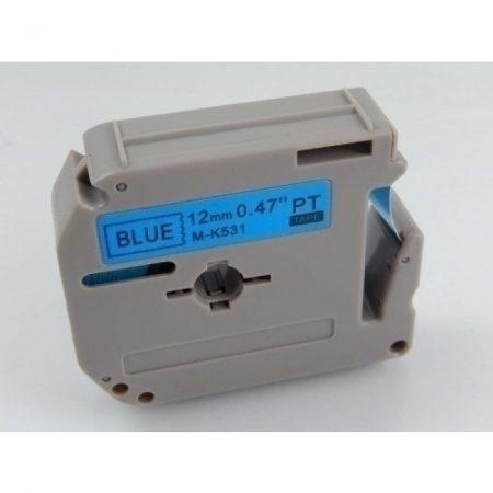 Brother M-K531 12mm * 8m kék alapon fekete laminálatlan utángyártott feliratozószalag kazetta