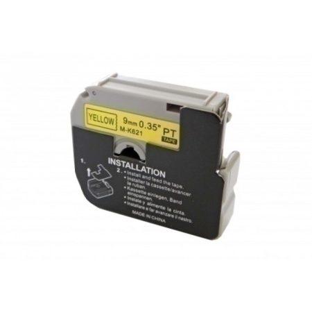 Brother MK621 utángyártott 9mm * 8m sárga alapon fekete feliratozószalag kazetta