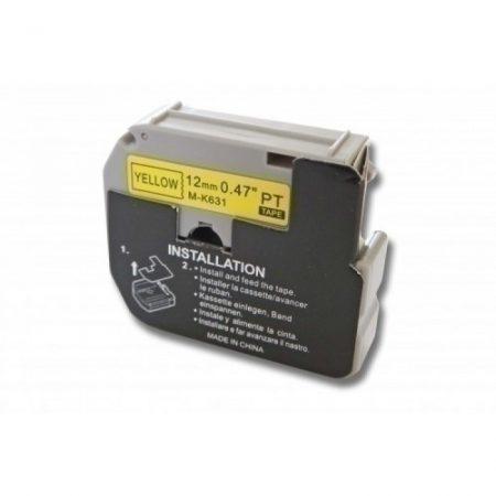 Brother M-K631 utángyártott 12mm * 8m sárga alapon fekete nyomtatás nem laminált feliratozószalag kazetta