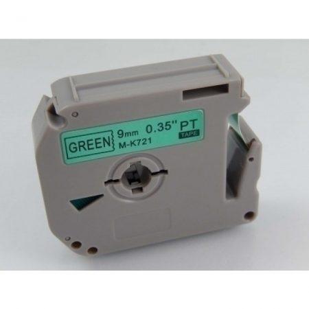Brother M-K721 9mm * 8m zöld alapon fekete utángyártott feliratozószalag kazetta