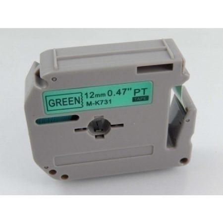 Brother M-K731 zöld alapon fekete 12mm * 8m utángyártott feliratozószlag kazetta