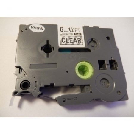 Brother TZe-111 P-Touch utángyártott feliratozószalag kazetta 6mm * 8m átlátszó alapon fekete